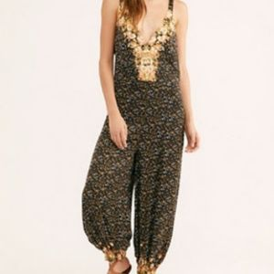 Free People Blissed Out Jumpsuit-Black Combo-XS